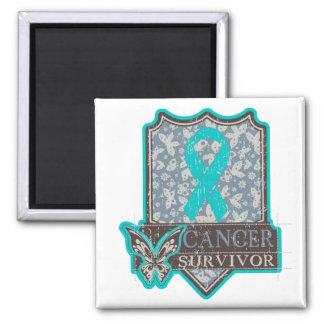 Gynecologic Cancer Survivor Vintage Butterfly 2 Inch Square Magnet