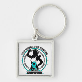 Gynecologic Cancer Too Tough For Cancer Silver-Colored Square Keychain