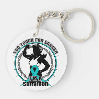 Gynecologic Cancer Too Tough For Cancer Double-Sided Round Acrylic Keychain