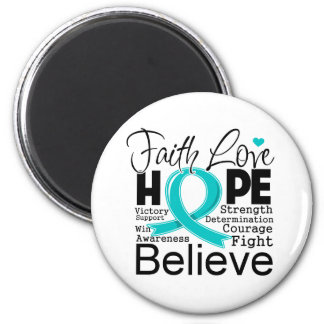 Gynecologic Cancer Typographic Faith Love Hope 2 Inch Round Magnet