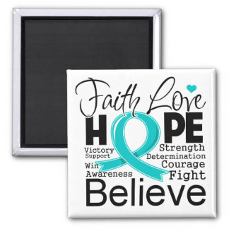 Gynecologic Cancer Typographic Faith Love Hope 2 Inch Square Magnet