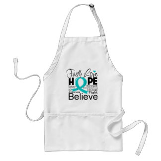 Gynecologic Cancer Typographic Faith Love Hope Adult Apron