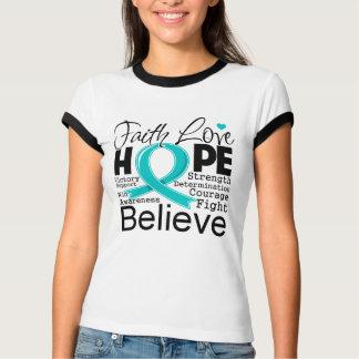 Gynecologic Cancer Typographic Faith Love Hope T-shirts