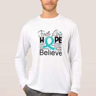 Gynecologic Cancer Typographic Faith Love Hope Tshirt