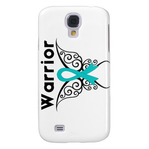 Gynecologic Cancer Warrior Tribal Butterfly Galaxy S4 Cases