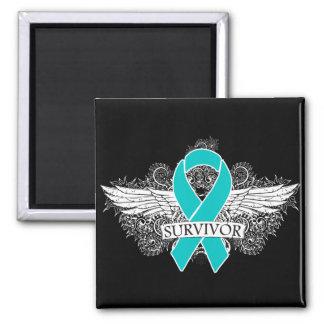 Gynecologic Cancer Winged SURVIVOR Ribbon 2 Inch Square Magnet