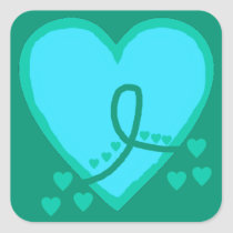 Gynecological, cervical, ovarian Survival Heart Square Sticker