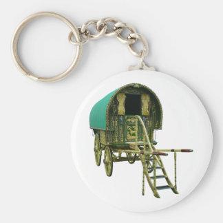 Gypsy bowtop caravan basic round button keychain