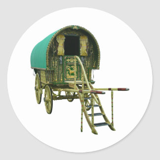 Gypsy bowtop caravan classic round sticker