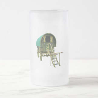 Gypsy bowtop caravan frosted glass beer mug
