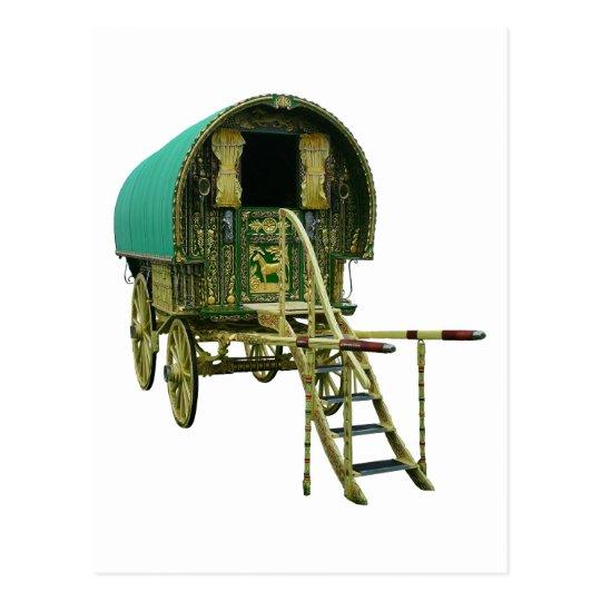 Gypsy bowtop caravan postcard