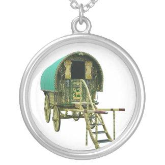 Gypsy bowtop caravan round pendant necklace