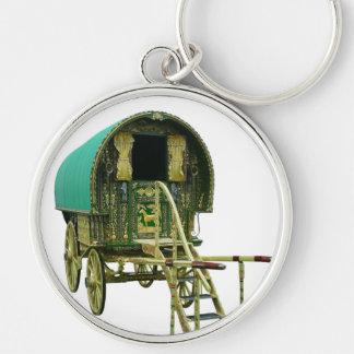Gypsy bowtop caravan Silver-Colored round keychain