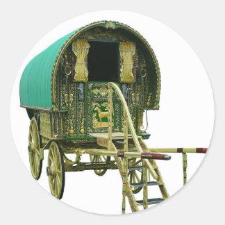 Gypsy bowtop caravan round stickers