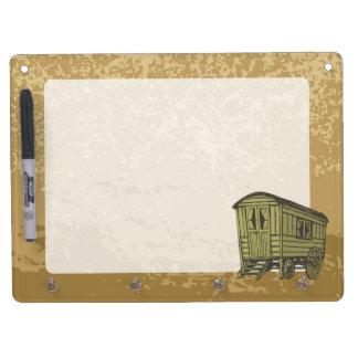 Gypsy caravan wagon dry erase board with keychain holder