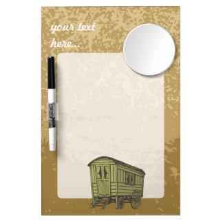 Gypsy caravan wagon dry erase board with mirror