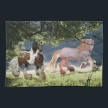 "Gypsy Cob Stallions Kitchen Towel<br><div class=""desc"">Gypsy Cob Stallions cavorting in the mist</div>"