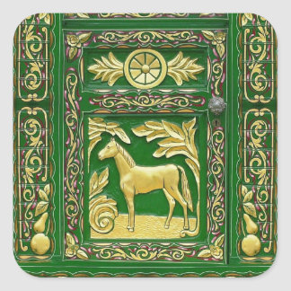 Gypsy door detail square sticker