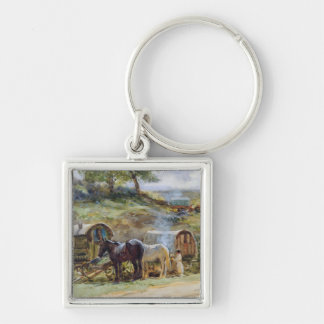 Gypsy Encampment, Appleby, 1919 Keychain