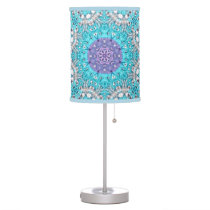 Gypsy Ethnic Embroidery  turquoise blue bohemian Desk Lamp
