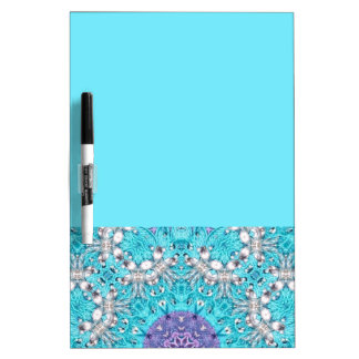 Gypsy Ethnic Embroidery  turquoise blue bohemian Dry Erase Board