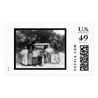 Gypsy Family and a Car 1925 Stamp