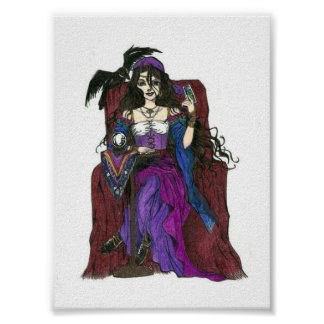 Gypsy Fortune Teller and Crow Poster