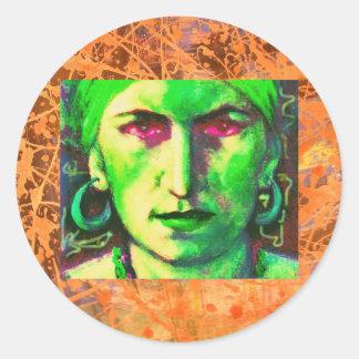 gypsy fortune teller drip classic round sticker