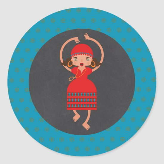 Gypsy Girl Dancing Birthday Party Classic Round Sticker