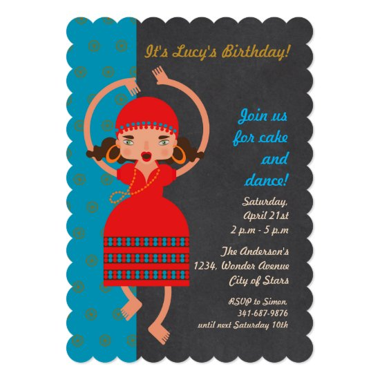 Gypsy girl Dancing Birthday Party invitation