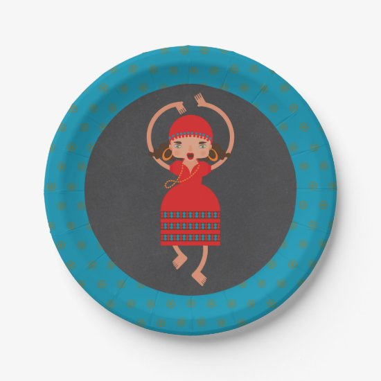Gypsy Girl Dancing Birthday Party Paper Plate