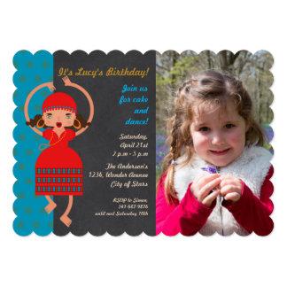 Gypsy girl Dancing Birthday Party photo invitation