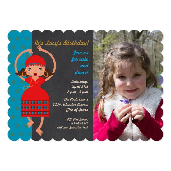 Gypsy girl Dancing Birthday Party photo invitation