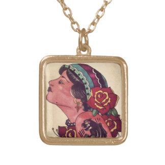 Gypsy Girl Square Pendant Necklace