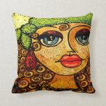 Gypsy girl throw pillows