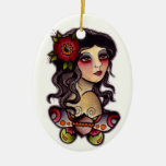 gypsy girl with butterfly ornament