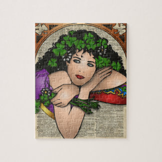 Gypsy Girl with Clovers Vintage Art On Book Page Jigsaw Puzzle