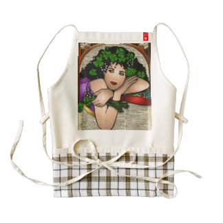 Gypsy Girl with Clovers Vintage Art On Book Page Zazzle HEART Apron