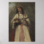 Gypsy Girl with Mandolin Poster