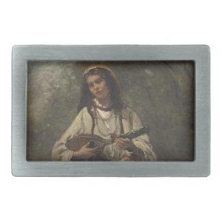 Gypsy Girl with Mandolin Rectangular Belt Buckle