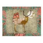 Gypsy Golden Pink Owls & Ornate Buck  Moonlight Post Card