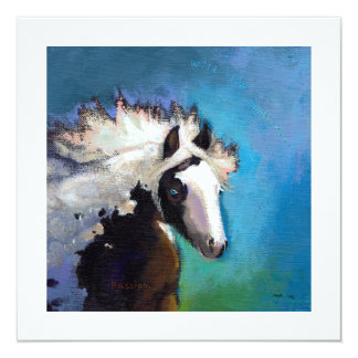 Gypsy Horse running passion colorful painting art Card