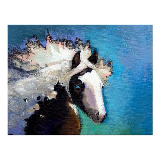 Gypsy Horse running passion colorful painting art Postcard