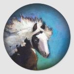 Gypsy Horse running passion colorful painting art Sticker
