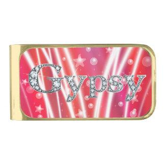 Gypsy in Faux-Diamond Bling Gold Finish Money Clip