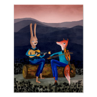 Gypsy Jazz - Rabbit and Fox Playing Music Posters