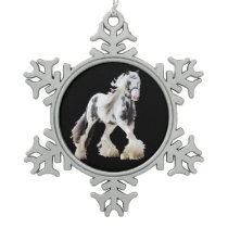 Gypsy Mare Stallion Draft Horse Snowflake Pewter Christmas Ornament