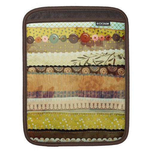 Gypsy Patchwork Rickshaw Sleeve, in Gold, Olive an Sleeve For iPads