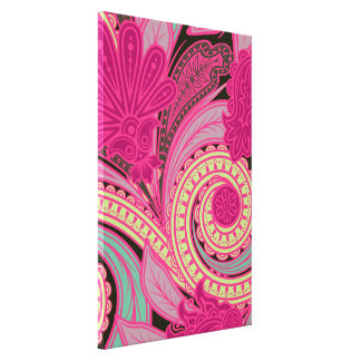 Gypsy Pink Paisley Pattern Canvas Print