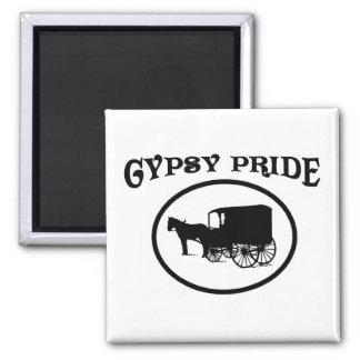 Gypsy Pride Black & White Caravan 2 Inch Square Magnet